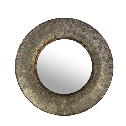 Large Hammered Copper Metal Round Wall Mirror