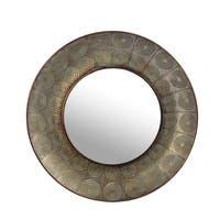 Privilege Large Hammered Copper Round Wall Mirror