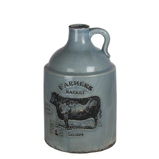 Large Blue Ceramic Farmhouse Vase