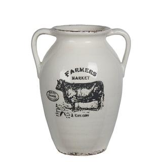Small White Ceramic Farmhouse Vase