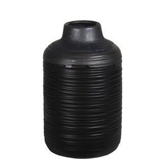Small Ribbed Black And Gray Ceramic Vase