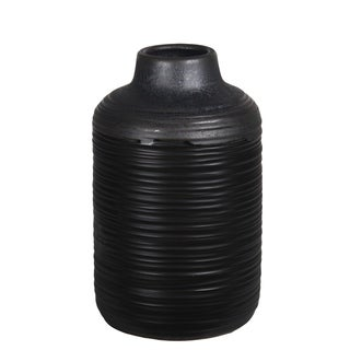 Small Ribbed Black And Gray Ceramic Vase