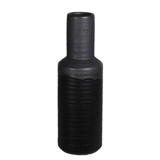 Large Black Ribbed And Gray Ceramic Vase