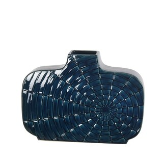 Wide Blue Ceramic Vase