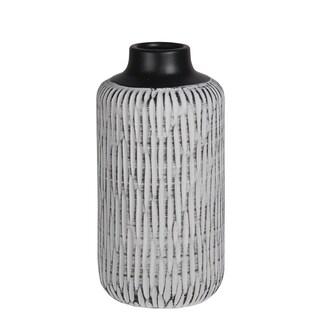 Large White Ribbed And Black Ceramic Vase