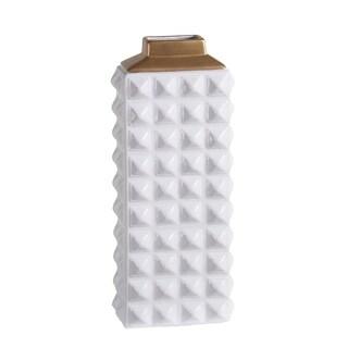 Large White Gold Ceramic Vase