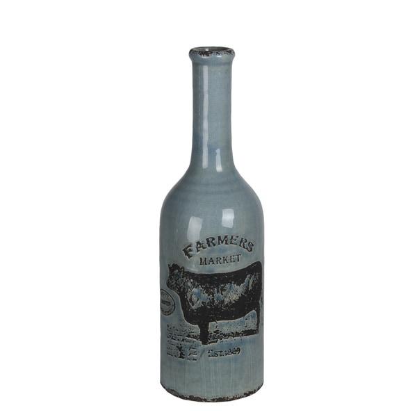 Small Blue Ceramic Farmhouse Vase