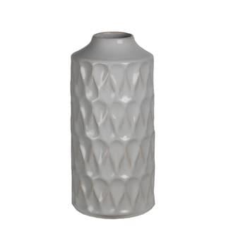 Large Ribbed White Ceramic Vase