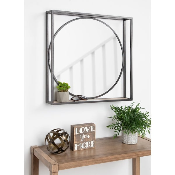 Kate And Laurel Mccauley Decorative Black Metal Mirror With Shelf