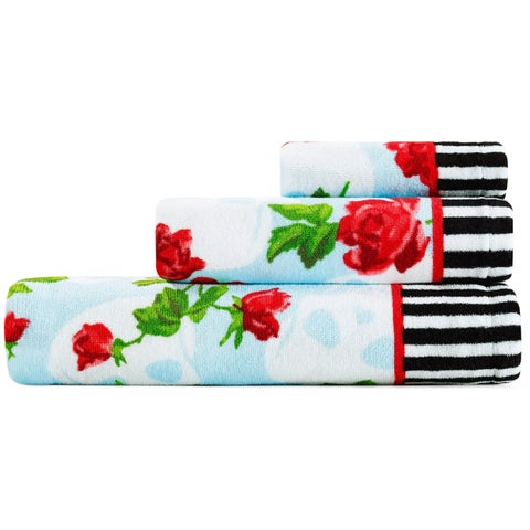 Betsey Johnson Skull Garden 3-Piece Bath Towel Set - 52x27;28x16;12x12