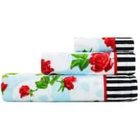 Betsey Johnson Skull Garden 3-Piece Bath Towel Set - 52x27;28x16;12x12
