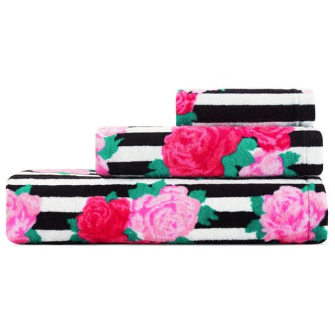 Betsey Johnson Flower Stripe 3-Piece Bath Towel Set - 52x27;28x16;12x12