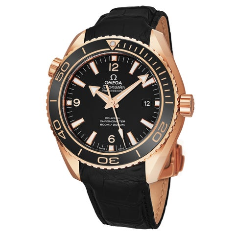 Omega Men's 232.63.42.21.01.001 'Seamaster Planet Ocean' Black Dial Black Leather Strap 18K Rose Gold Swiss Automatic Watch