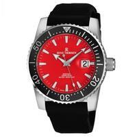 Revue Thommen Men's 17030.2536 'Diver' Red Dial Black Rubber Strap Swiss Automatic Watch