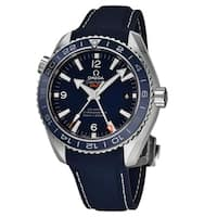 Omega Men's 232.92.44.22.03.001 'Seamaster Planet Ocean' Blue Dial Blue Rubber Strap GMT Swiss Automatic Co-Axial Watch
