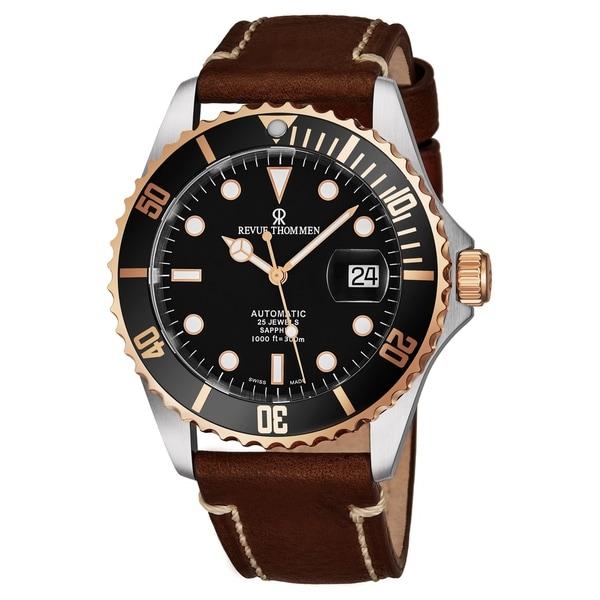 35f4f1b9a Shop Revue Thommen Men's 17571.2557 'Diver' Black Dial Light Brown ...