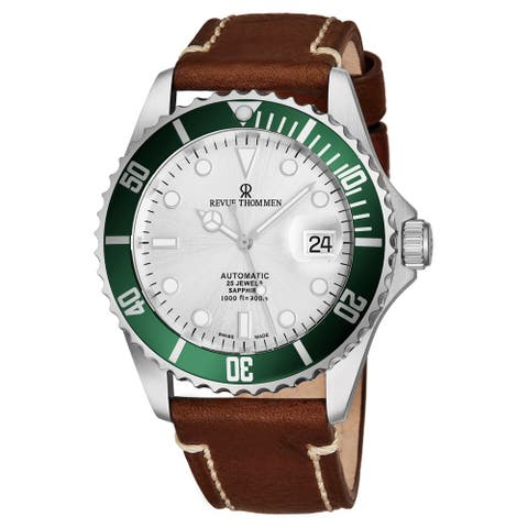 Revue Thommen Men's 17571.2524 'Diver' Silver Dial Light Brown Leather Strap Swiss Automatic Watch