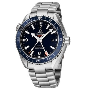 Omega Men's 232.90.44.22.03.001 'Seamaster Planet Ocean' Blue Dial Titanium Bracelet GMT Swiss Automatic Co-Axial Watch