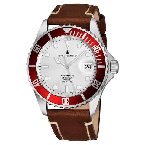 Revue Thommen's Men's 17571.2526 'Diver' Silver Dial Light Brown Leather Strap Swiss Automatic Watch