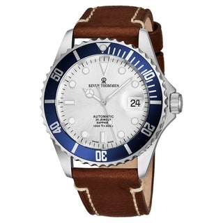 Revue Thommen's Men's 17571.2525 'Diver' Silver Dial Light Brown Leather Strap Swiss Automatic Watch