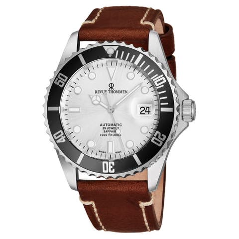 Revue Thommen's Men's 17571.2527 'Diver' Silver Dial Light Brown Leather Strap Swiss Automatic Watch