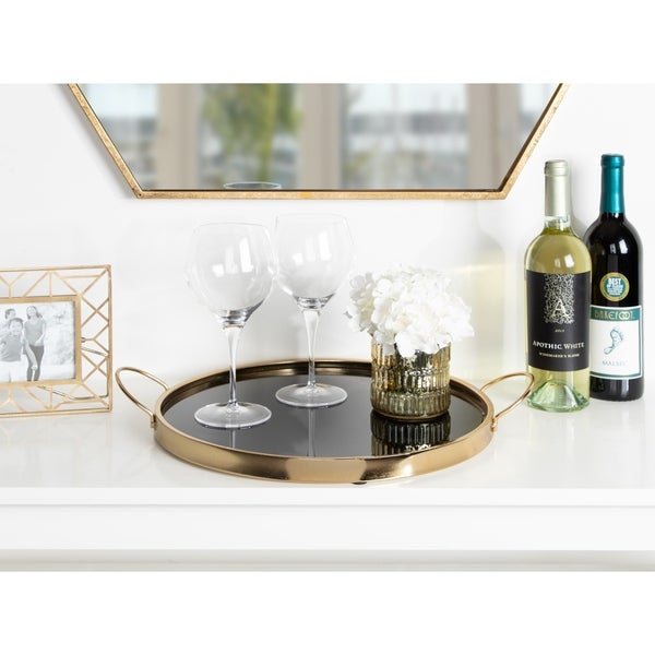 97f7bbb1572 Kate and Laurel Kea Round Black Mirror Vanity Tray in Gold - 15