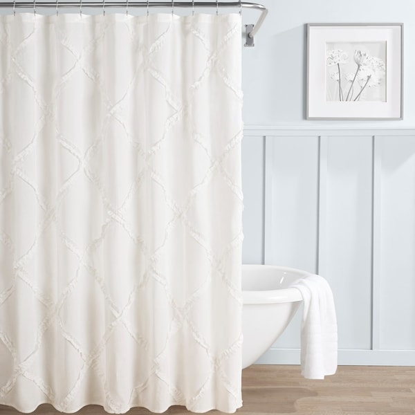 Laura Ashley Adelina White Shower Curtain