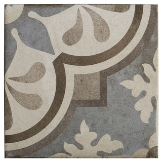 Porcelain Cement Look 8 x 8 inch Cool Blend Decorative Tile in Grande Fiore