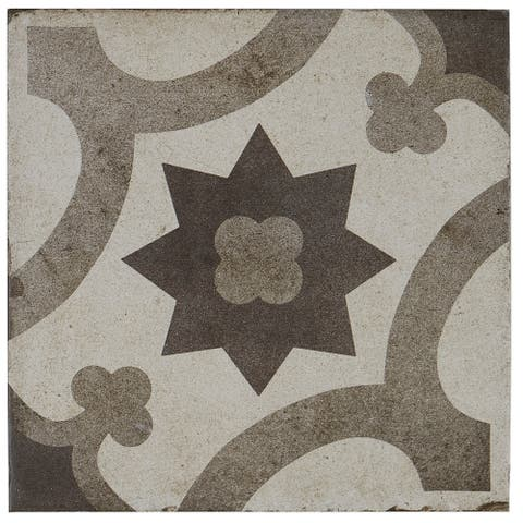 Porcelain Cement Look 8 x 8 inch Cool Blend Decorative Tile in Sole