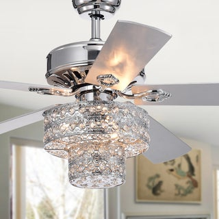 glam ceiling fans small crystal empire un 5blade silver chandelier ceiling fan 52inch with remote control buy finish glam fans online at overstockcom our
