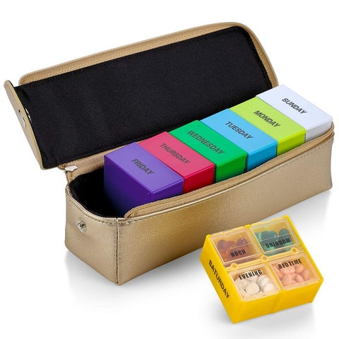 Large Weekly Pill Organizer Box in Gold Leather Case