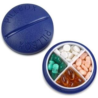 Pill Box Round for Travel Mini Compact Portable 4 Compartment Pills Case Organizer