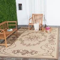 Safavieh Garden Elegance Natural/ Brown Indoor/ Outdoor Rug - 4' x 5'7'