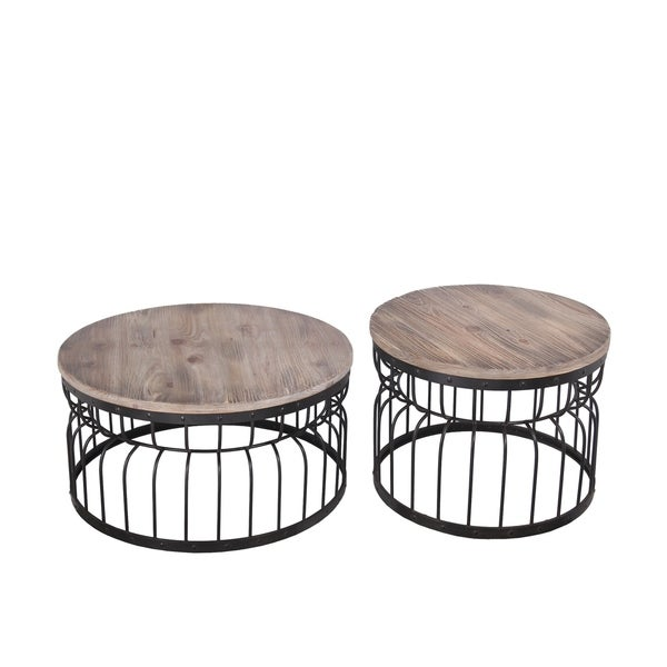 Set Of 2 Reclaimed Wood Accent Tables