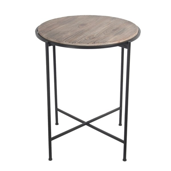 Privilege Brown/Grey Reclaimed Wood And Metal Accent Table