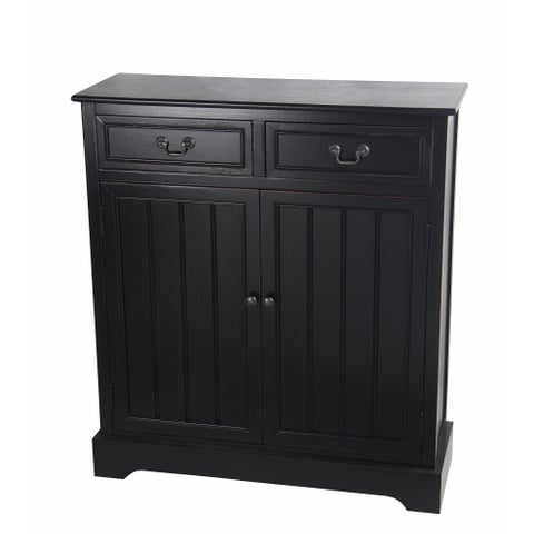 2 Drawer 2 Door Black Accent Chest