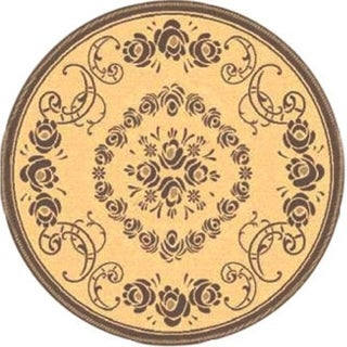 Safavieh Garden Elegance Natural/ Brown Indoor/ Outdoor Rug (5'3 Round)