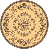 "Safavieh Garden Elegance Natural/ Brown Indoor/ Outdoor Rug - 5'3"" x 5'3"" round"