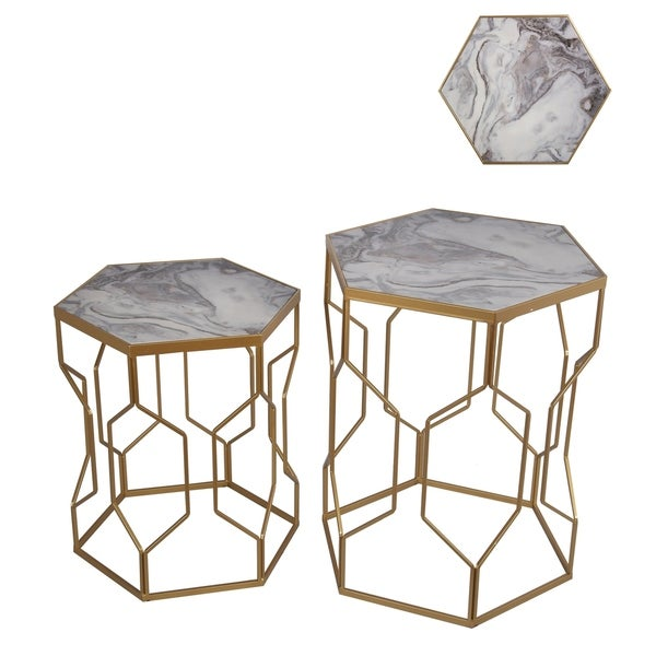 Set Of 2 Marble And Gold Accent Tables