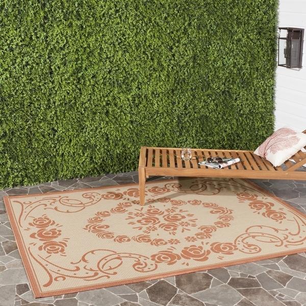 Safavieh Indoor/ Outdoor Garden Natural/ Terracotta Rug (4' x 5'7)