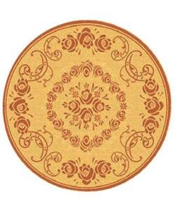 Safavieh Garden Elegance Natural/ Terracotta Indoor/ Outdoor Rug (6'7 Round)
