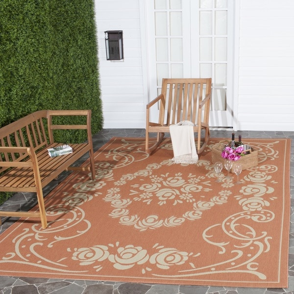 Safavieh Garden Elegance Terracotta/ Natural Indoor/ Outdoor Rug (5'3 x 7'7) - 5'3 x 7'7