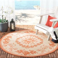 "Safavieh Garden Elegance Terracotta/ Natural Indoor/ Outdoor Rug - 5'-3"" x 5'-3"" round"