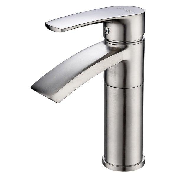 BWE Single Hole Bathroom Basin Vessel Sink Faucet Brushed Nickel With Drain
