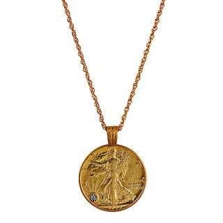 American Coin Treasures Walking Liberty Necklace Diamond Chip