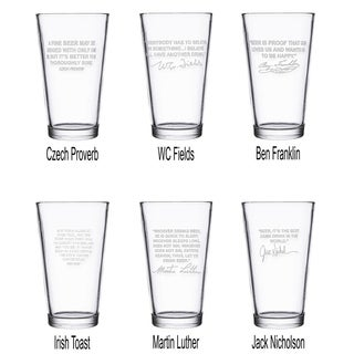 Famous Beer Quotes Personalized Beer Pint Glasses - Six (6) Best Selling Quotes