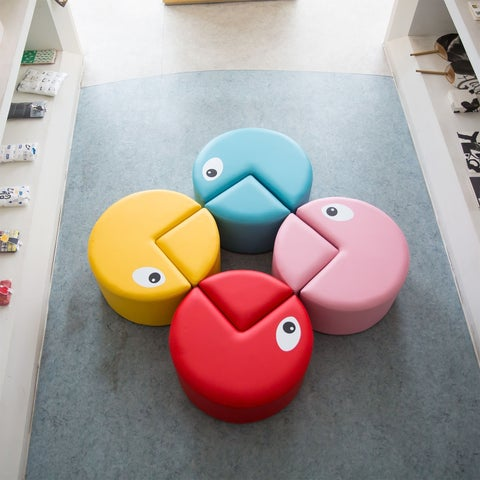 Kinbor Kids Sofa Seating Set Preschool Chairs Colorful Stools for Toddle Soft Foam Play Set Playroom Furniture