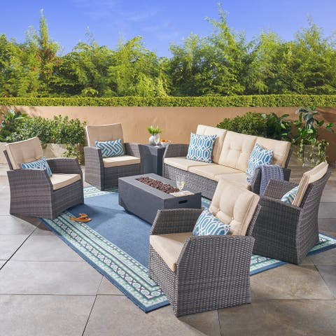 Sanger Outdoor 7 Seater Wicker Chat Set with Light Weight Concrete Fire Pit by Christopher Knight Home