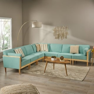 Pembroke Mid-Century Modern Fabric Upholstered 7 Piece Sectional Sofa with Piped Cushions by Christopher Knight Home