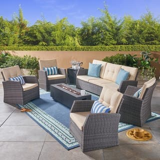 sanger outdoor 7 seater wicker chat set with an iron fire pit by christopher knight home - Fire Pit Patio Set